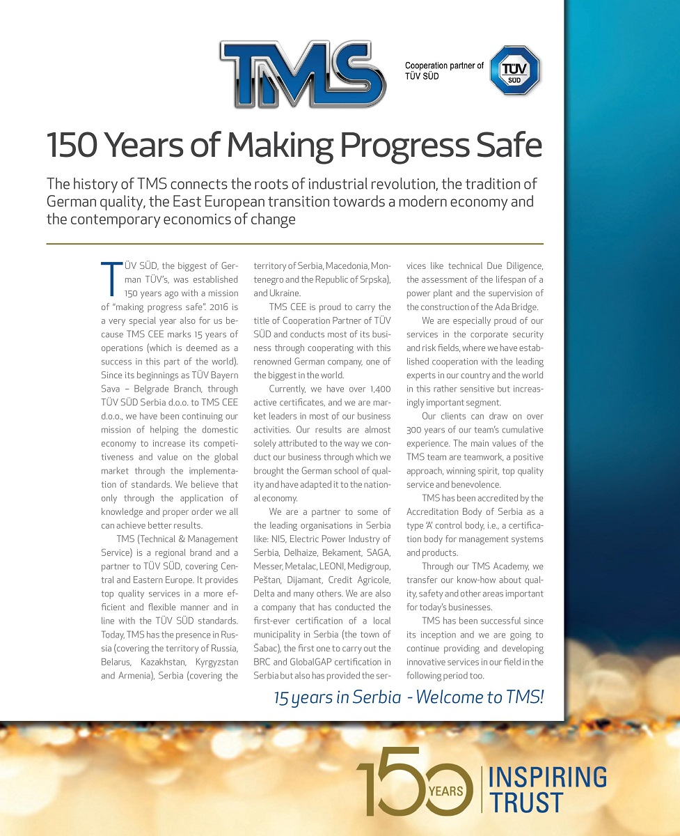 150 Years of Making Progress Safe | TMS CEE Belgrade
