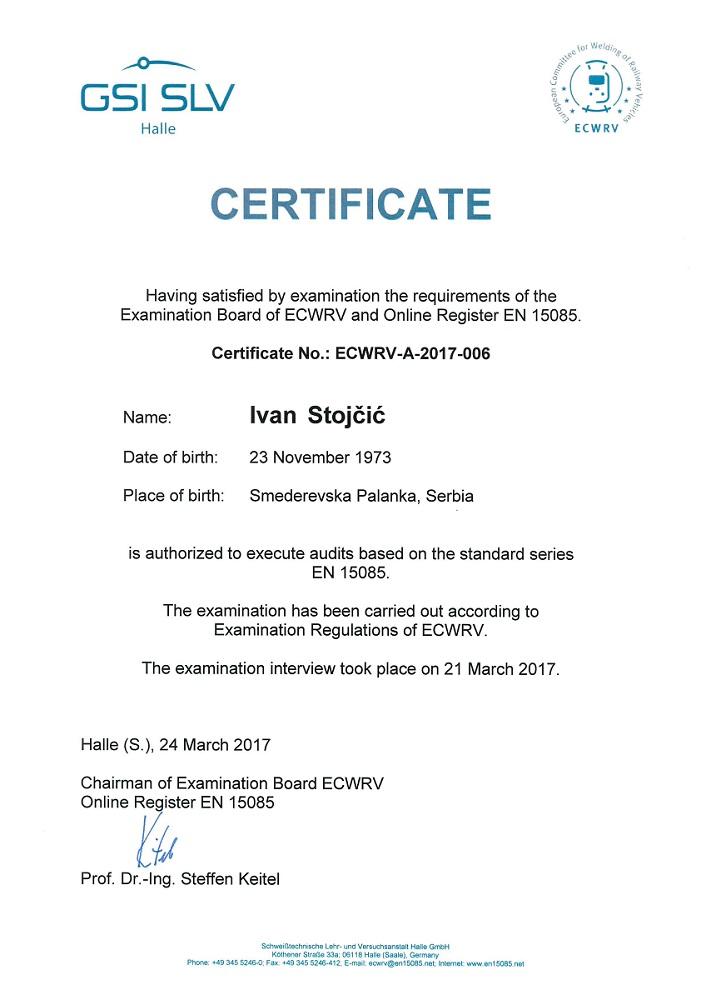 First auditor of EN 15085 in Serbia! | TMS CEE Belgrade